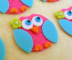Buho rosa y azul comestible Cupcake Toppers