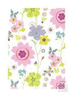 Pretty Flower Pattern Art Print at Art.com