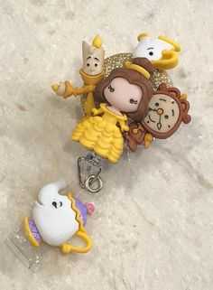 Excited to share this item from my shop: Beauty and the Beast Belle & friends ID badge holder with retractable reel- student, nurse, doctor gift idea Cute Polymer Clay, Cute Clay, Polymer Clay Charms, Diy Clay, Clay Crafts, Graduation Gifts, Graduation Parties, Graduation Decorations, Graduation Ideas