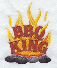 BBQ King, Embroidered flour sack towel, tea towel, hand towel or dish towel by embroiderybybeverly on Etsy