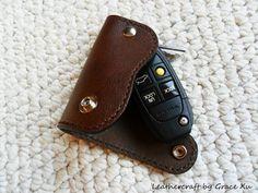 100% hand stitched handmade dark brown cowhide leather key purse / holder/ case