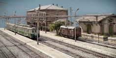 TrainScape: Diorama basado en Vadollano. 56 Model Train Layouts, Model Trains, Scenery, Trains, Dioramas, Model Train, Landscape, Paisajes, Nature