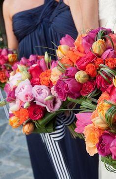 bright modern wedding flowers