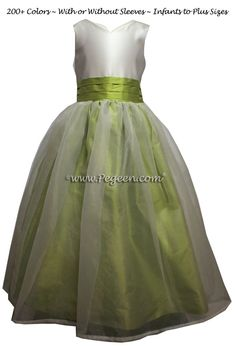 92b11fc04d8 Citrus Green and New Ivory custom silk Flower Girl Dress Style 301 Green  Flower Girl Dresses