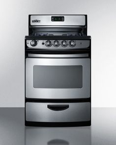 Each side has continuous burner grate, with space in middle. About $770 at AJ Madison. Summit PRO246SS 24 Inch Freestanding Gas Range with 4 Open 9,100 BTU Burners, 3.0 cu. ft. Oven, 2 Continuous Grates, 2 Oven Racks, Viewing Window, Interior Lighting, Clock-Timer and Broiler Drawer