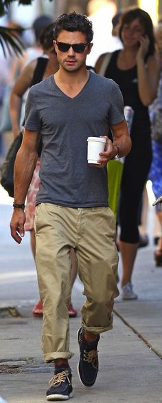 Dominic Cooper, Rolled Up Khakis, Blue Suede Topsiders, and Blue Tee. Men's Spring Summer Fashion.