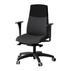 VOLMAR Swivel chair with armrests - dark gray - IKEA
