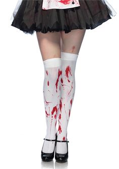 White Bloody Zombie Thigh Highs #endoftheworld