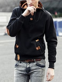 Decorative Button Pocket Men Hoodie - Top Look Cheap Mens Fashion, Latest Fashion Clothes, Fashion Shoes, Men's Fashion, Fashion Dresses, Fashion Pants, Trendy Fashion, Pumpkin Face, Halloween Look