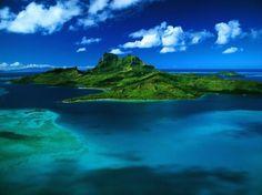ボラボラ島、フランス領ポリネシア、空からの眺め 屋上緑化 自然 高解像度で壁紙