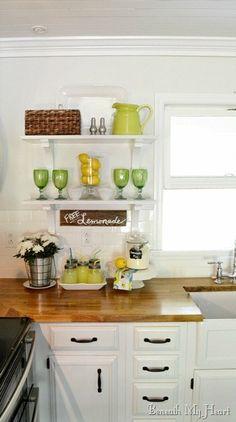 Summer Open Shelves in my Kitchen - Beneath My Heart
