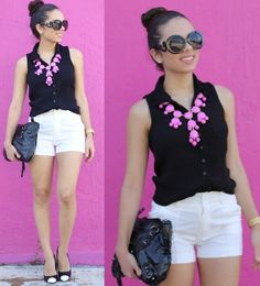Mali Beads Side Cross Necklace, Romwe White Shorts, Ily Couture Pink Statement Necklace, Pacsun Black Top, Forever 21 Diy Shoes, Korean Fashion Clothing Black Bag, Furor Moda Round Sunglasses