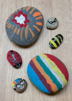 How to make your own painted rocks - a simple and fun nature activity for children, great for exploring colours, textures and creative thinking!
