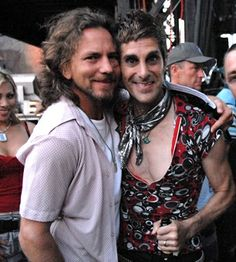 Eddie Vedder and Perry Farrell backstage at Lollapalooza.