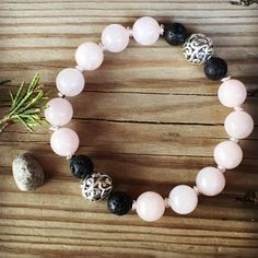 Rose Quartz & Lava Stone Beads Essential Oil Diffuser Bracelet by erinmargabeth on Etsy