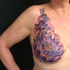 """Some breast cancer survivors are refusing to let cancer leave the """"last mark"""" on their bodies. For women who have lost their breasts when a mastectomy was the only treatment option, inspirational mastectomy tattoos have turned tragedy into… Scar Tattoo, Cover Tattoo, Chest Tattoo, Lotus Tattoo, Tattoo Art, Breast Cancer Tattoos, Breast Cancer Survivor, Survivor Tattoo, Mastectomy Tattoo"""
