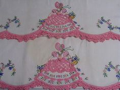 My Grandma Walker made these...love them! ♥   2 Vintage 40s Fancy Pink Southern Belle Pillowcase Cotton Crochet Embroidered
