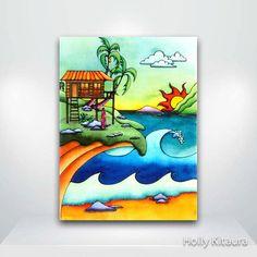Surf Shack Beach Fine Art Giclée Print by HollyvisionArt on Etsy