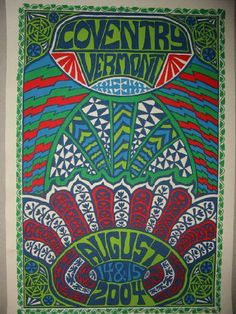 Original silkscreen concert poster for Phish in Coventry, VT 204. It is printed on Watercolor Paper with Acrylic Inks and measures around 15x22.  Print is signed and numbered by the artist Tripp.