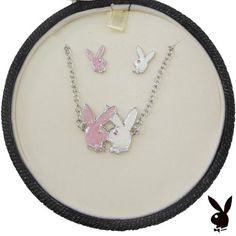 2-Piece Playboy Jewelry Set Necklace Earrings Pink and White Kissing Bunnies Platinum Plated GIFT BOX Genuine Authentic Licensed Playboy http://www.amazon.com/dp/B00GBKC1DC/ref=cm_sw_r_pi_dp_v-awub0T6CX74