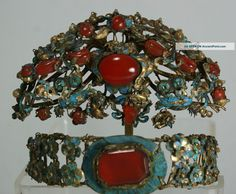 ... Antique Chinese Kingfisher Feather Carnelian Jeweled Hair Ornaments  ca. 1850-1899