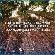 El  crecimiento personal esencial vendra a medida que te esfurces por saber como dejarte guiar por el espiritu http://mormonsud.org/