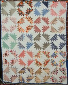 30's Vintage Delectable Mountain Pinwheel Hand Stitched Antique Quilt | eBay, french72