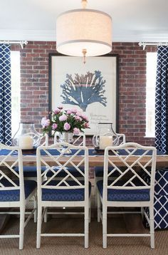 Coastal Prep In The Pacific Palisades Entry Living & Dining Adorable Chinese Dining Room Table Design Inspiration