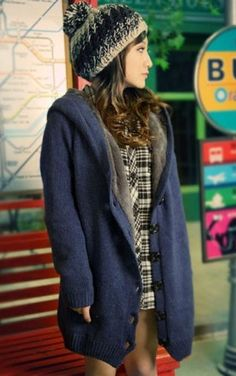 Knitted Button Up Cardigan - Blue