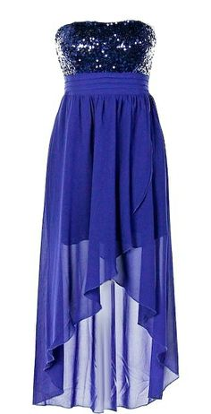 Iced Royalty Dress: Features a sparkling blue sequin bodice with rear smocking for a custom fit, dimension-lending pleats below the bust, flowing royal blue chiffon skirt with inner lining for no show-through, and a flattering high-low hem to finish.