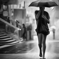 'Woman in the rain' by JasonVine Laptop Skin, Laptop Sleeves, Rain, Ballet Skirt, Framed Prints, Woman, Design, Fashion, Rain Fall
