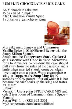 Tupperware Pumpkin Chocolate Spice Cake