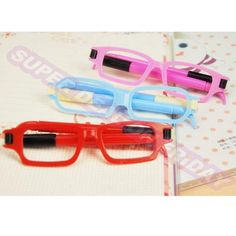 Novelty Creative Ballpoint Pen Glasses Shape Student School Writing Equipment #Unbranded