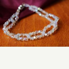 8 inch White Crystal Bracelet with magnetic clasp 8 inch White Crystal Bracelet with magnetic clasp hand beaded Handmade Jewelry Bracelets