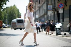 The Secret To Looking Famous (Even If You Aren't) #refinery29  http://www.refinery29.com/all-white#slide-1  A voluminous white dress calls for structured accessories.