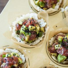 Ahi Sushi Cups Skip the mat-and-roll routine and keep sushi night simple with these easy-to-make and impressive-to-serve cups. For a wow-worthy party app, try this recipe in mini muffin cups to cre…