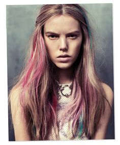 pastel hair , blonde pink and blue hairstyles