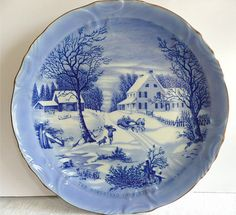 VINTAGE COLLECTOR PLATE CURRIER AND IVES THE HOMESTEAD IN WINTER