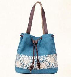 Women Floral Canvas Bucket Casual Shoulder Bag Spanish Beach Bags Women String Shopping Handbags Lace Printing Bag S-158