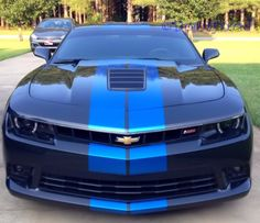 My car now ... A 2014 Camaro SS2 Ashen Grey with Blue Metallic Rally Stripes