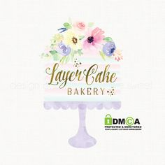 premade watercolor cake stand logo with by stylemesweetdesign