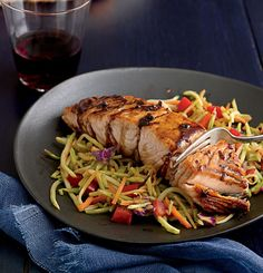Seared Ginger Balsamic Salmon with Hot and Sour Slaw