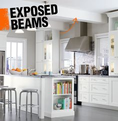 Support beams are an important part of your home's structural makeup, but they can also be decorative too! The term 'exposed beam' is just like it sounds, when the support beams are exposed to the room, rather than covered by the ceiling.