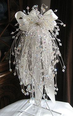 Handmade Swarovski AB Cascading Crystal Bouquet – weddings idea's – hand Wedding Brooch Bouquets, Bride Bouquets, Flower Bouquet Wedding, Flower Bouquets, Boquette Wedding, Bling Wedding, Wedding Ideas, Crystal Wedding, Hand Flowers