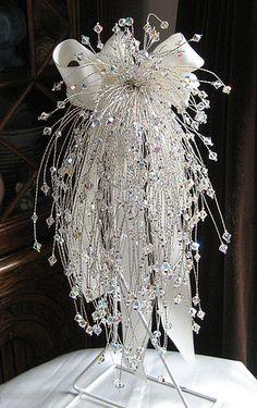 Handmade Swarovski AB Cascading Crystal Bouquet - Swarovski Crystal cascading bridal bouquet. 250 stems. Handmade at Jolly Fine Jewellery.