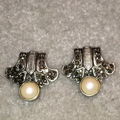Marcasite & Faux Pearl Earrings Lovely Faux Pearl & Marcasite Earrings.                 NO TRADES NO HOLDS I IGNORE LOWBALLERS Jewelry Earrings