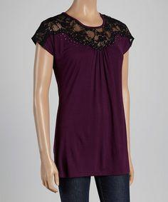 Loving this Purple & Gray Lace-Yoke Cap-Sleeve Top - Women on #zulily! #zulilyfinds