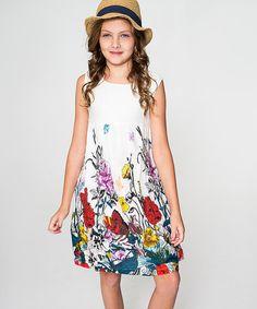 White Butterfly Flowers A-Line Dress - Toddler & Girls #zulily #zulilyfinds