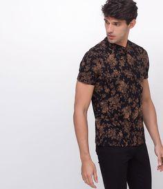 46b89d732 Camisa masculina Manga curta Gola polo Floral Gola padre Marca  Request  Tecido  algodão Composição