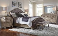 Elegant and sumptuous, the Rhianna bedroom collection by Pulaski Furniture envelops you in total luxury. The aged silver patina finish enhances sinuously curved shapes and French influenced decorative motifs. Upholstered Bedroom Set, Bedroom Furniture Sets, Home Decor Bedroom, Home Furniture, Bedroom Ideas, Online Furniture, King Furniture, Rustic Furniture, Furniture Ideas